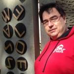 Howard at Cryptographer's Monument at Bletchley Park, Milton Keynes.