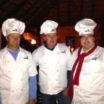 Howard as 'celebrity' chef -judging media owners cooking efforts in the annual Continental Outdoor Potjie Cook-off. With Mr Errol Gobey founder of Bellgables Restaurant and the MD of Continental Outdoor Mr Bazil Lauryssen.